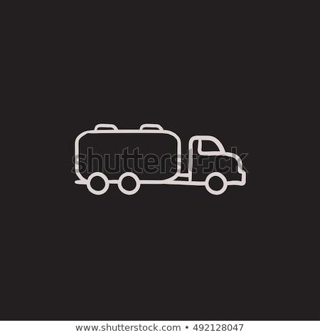 Vrachtwagen vloeibare vracht schets icon vector Stockfoto © RAStudio
