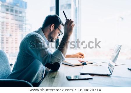Mannelijke vermoeidheid kantoor intellectueel werk pop art Stockfoto © studiostoks