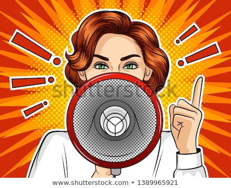 Exclamation point and pop art woman Stock photo © studiostoks