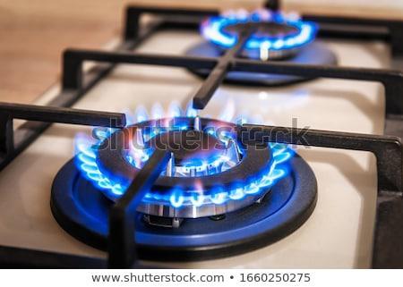 キッチン ガス ストーブ 燃焼 黒 光 ストックフォト © OleksandrO