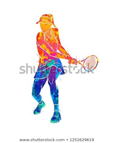 играет теннис изолированный иллюстрация женщину Сток-фото © tiKkraf69