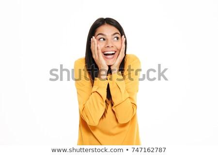 ストックフォト: クローズアップ · 肖像 · かなり · 若い女性 · 黄色 · シャツ