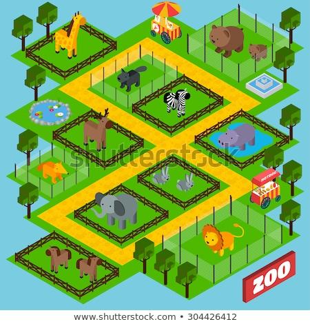 Cage with zebras isometric 3D icon Stock photo © studioworkstock