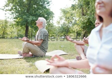 Senior homem as pernas cruzadas meditando parque pedra Foto stock © IS2