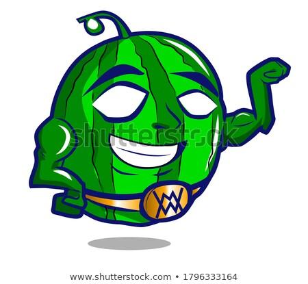健康 緑 スイカ 新鮮果物 漫画のマスコット 文字 ストックフォト © hittoon