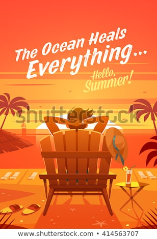 Deckchair at sunset retro poster Stock photo © tracer