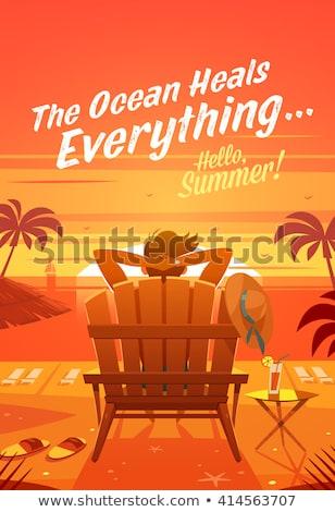 chaise · longue · coucher · du · soleil · rétro · affiche · salon · bungalow - photo stock © tracer