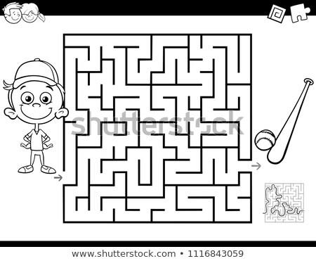 Rajz labirintus tevékenység fiú baseball illusztráció Stock fotó © izakowski