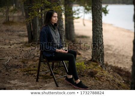 jonge · vrouw · mok · naar · portret · internet · laptop - stockfoto © sergemat