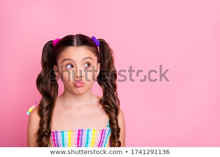 Fiatal lány küldés csók esernyő arc szemek Stock fotó © vladacanon