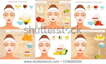 Vrouw gezicht masker aardbei cosmetische vector gezicht Stockfoto © MaryValery