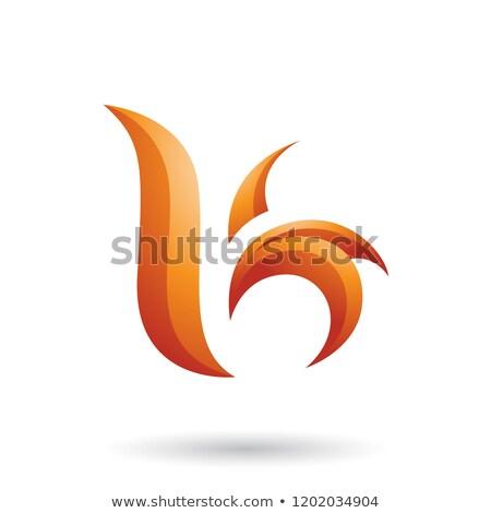 Pomarańczowy falisty liści list wektora Zdjęcia stock © cidepix