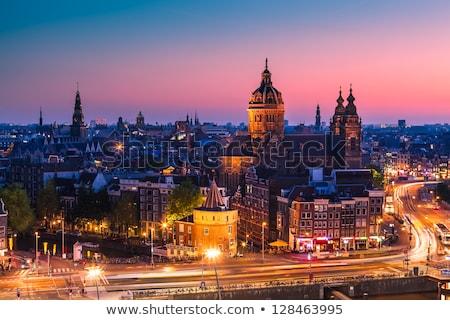 Paisaje urbano Amsterdam noche caída central estación de ferrocarril Foto stock © neirfy