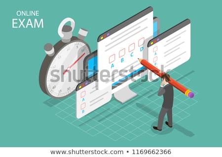 Izometrikus vektor online tesztelés oktatás felmérés Stock fotó © TarikVision