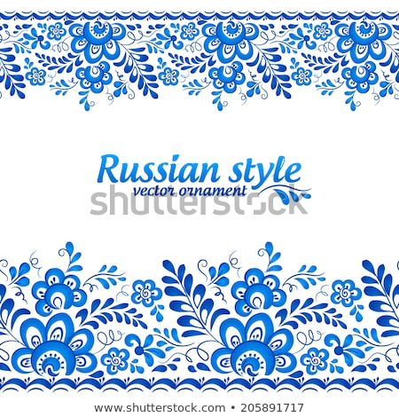 Set of seamless borders with russian traditional gzhel pattern Stock photo © Evgeny89