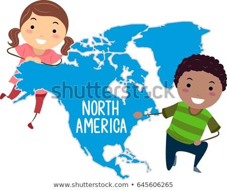 Gyerekek földrész észak Amerika illusztráció bemutat Stock fotó © lenm