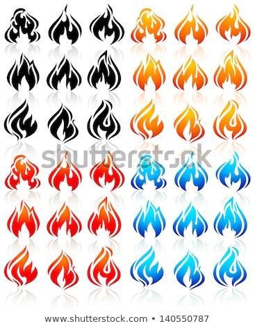 Tűz lángok szikrák új narancs ikon Stock fotó © Ecelop