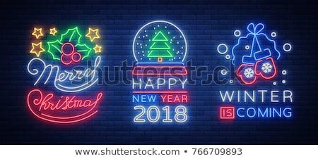 neşeli · Noel · happy · new · year · neon · sanat · parti - stok fotoğraf © ikopylov