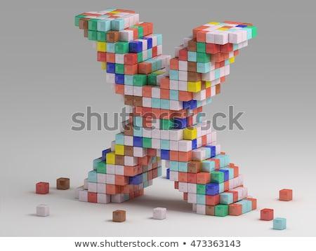 White voxel cubes font Letter X 3D Stock photo © djmilic