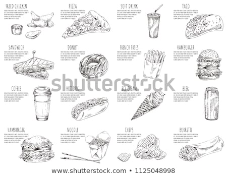 Soft Drink and Noodles Set Vector Illustration Stock photo © robuart