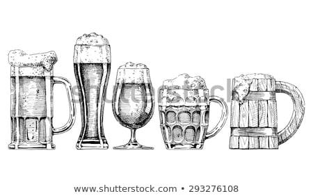 Bira cam kupa ayarlamak tek renkli Stok fotoğraf © robuart