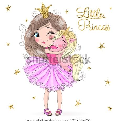 Karikatür gülen prenses kız mutlu taç Stok fotoğraf © cthoman
