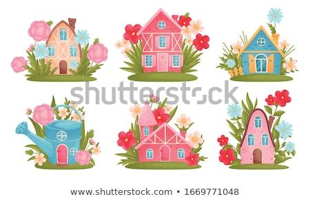 Cottage piccolo giardino illustrazione albero costruzione Foto d'archivio © colematt