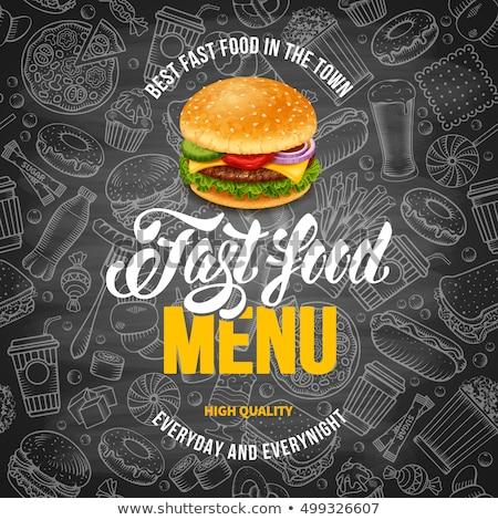 Fast food lijn sjabloon schets ontwerp restaurant Stockfoto © Anna_leni