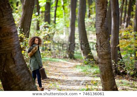 Göndör haj tinilány retro bőrönd ősz erdő Stock fotó © boggy
