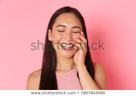 Dziewczyna szczęśliwy wyraz twarzy ilustracja kobieta twarz Zdjęcia stock © colematt