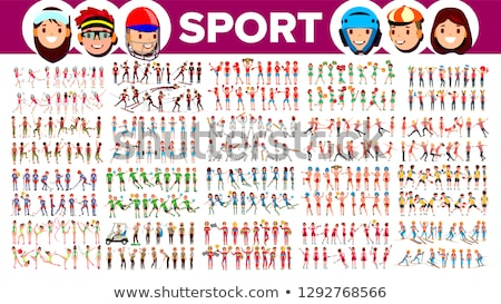 Athlete Set Vector. Man, Woman. Group Of Sports People In Uniform, Apparel. Character In Game Action Stock photo © pikepicture