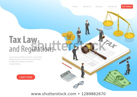 Foto stock: Isometric Flat Vector Landing Page Template Of Tax Law And Regulations
