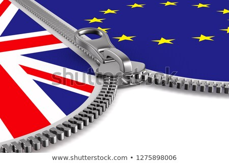flag EU and  Great Britain and zipper. 3D illustration Stock photo © ISerg