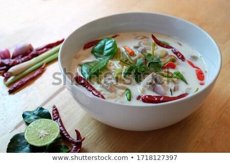 Tyúk kókusztej leves thai étel férfi eszik Stock fotó © dashapetrenko