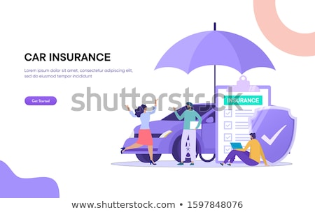 isometric flat vector landing page template of insurance deal policy stock photo © tarikvision