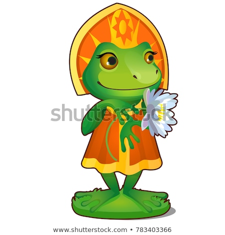 Animated Princess frog in clothes isolated on white background. The character of Russian folk tales. Stock photo © Lady-Luck