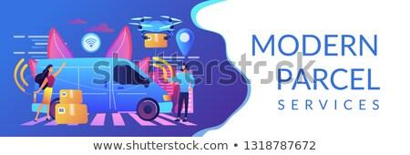 Autonomous courier concept banner header. Stock photo © RAStudio