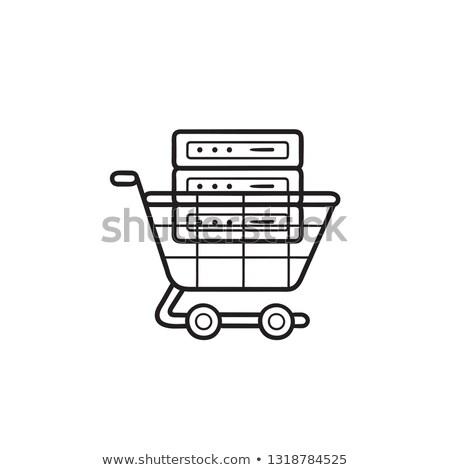 carrinho · de · compras · rabisco · ícone · supermercado - foto stock © rastudio