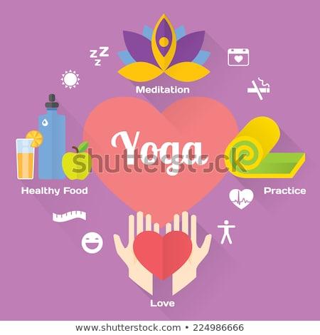 yoga fitness and meditation icon set flat design isolated illustration stock photo © wad