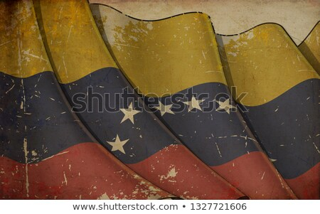 Old Paper Print - Waving Flag of Venezuela Stock photo © nazlisart