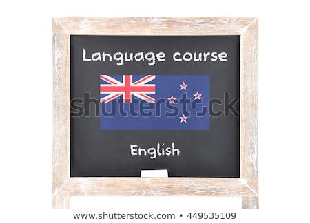 Zászló Új-Zéland fakeret illusztráció terv háttér Stock fotó © colematt