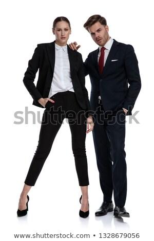 пару бизнеса Костюмы глядя серьезный отношение Сток-фото © feedough