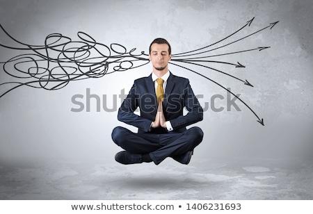 Işadamı karalama yoga pozisyon ofis çalışmak Stok fotoğraf © ra2studio