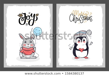 Neşeli Noel kartpostal penguen kalp Stok fotoğraf © robuart
