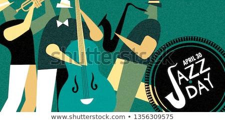 Międzynarodowych jazz dzień plakat trąbka gracz Zdjęcia stock © cienpies