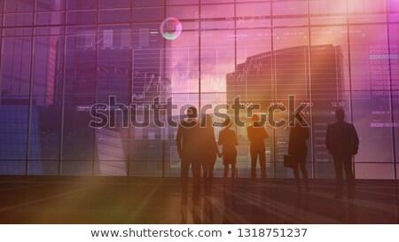 Csoport tőzsde sziluettek üzlet csapatok ellenőrzés Stock fotó © ConceptCafe