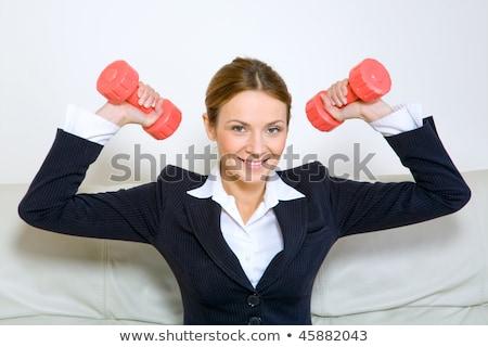 ストックフォト: 女性実業家 · 行使 · ダンベル · 笑みを浮かべて · 小さな · 赤