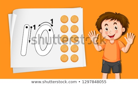 Fiú szám tíz kéz háttér művészet Stock fotó © colematt
