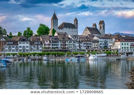 Svájc tó Zürich égbolt épület tájkép Stock fotó © borisb17