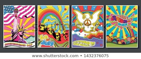 Cartaz arco-íris Estados Unidos américa bandeira combinação Foto stock © FoxysGraphic